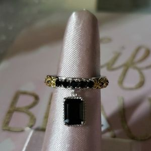 Jewelry - Emerald cut Black Spinel 14k and sterling ring